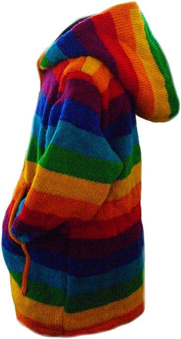 7dc691401693d Fleece Lined Classic Children s Rainbow Design Handknitted Woolen Jacket - Fair  Trade Wool