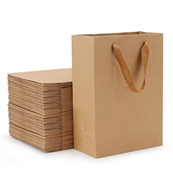 Amazon.com: 50 bolsas de regalo de papel kraft, bolsas de ...