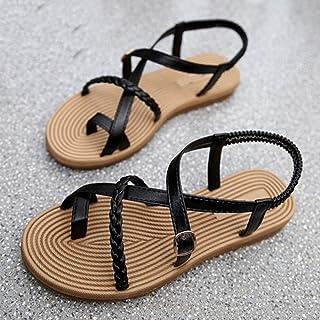 QIMITE Chancletas Zapatos De Verano Sandalias Planas Mujeres Mayores Suave Y Plana Sandalias De Moda Zapatos Cómodos Negro