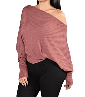 28ae268348227f Tomblin Women s Off Shoulder Batwing Sleeve Loose Oversized Pullover Sweater  Knit Jumper ...