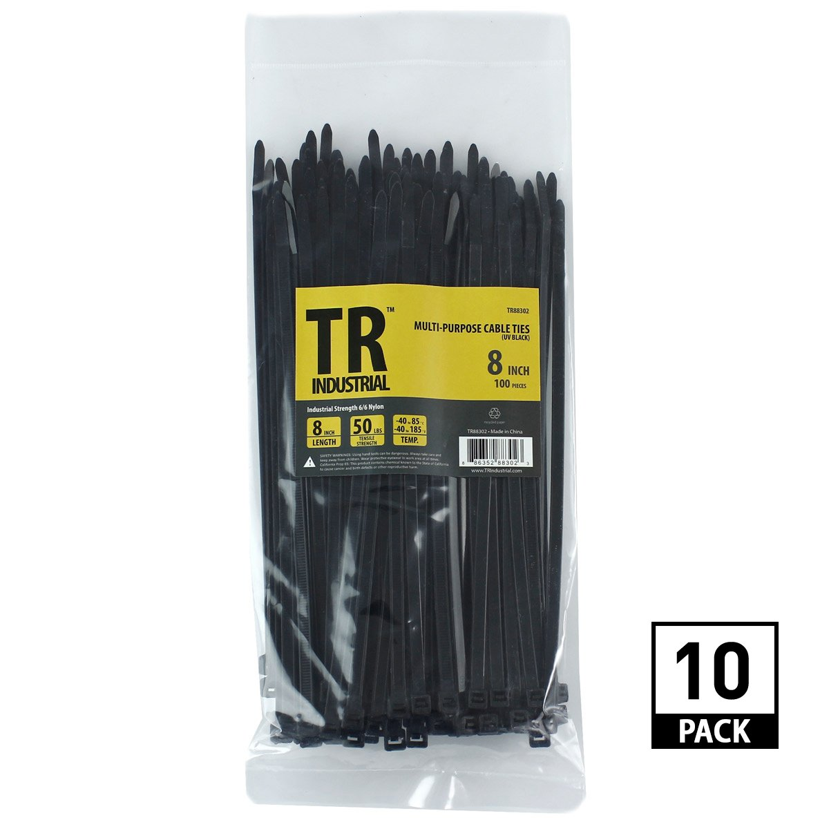 TR Industrial 88302 TR-CT81000 Multi-Purpose UV Resistant Black Cable Ties (1000 Pack), 8''