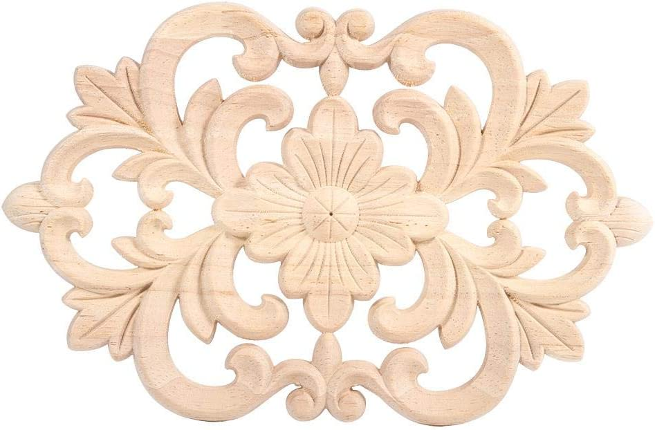 Beennex Wood Appliques,Carved Wood Applique - 1Pc Wood Carved Onlay Applique Unpainted Furniture for Home Door Cabinet Decoration (2214CM)