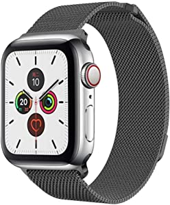TINGTONG Stainless Steel Milanese Strap Band with Magnetic Closure for iWatch 38mm/40mm Apple Watch Series 1/2/3/4/5 (Space Grey)