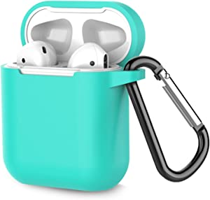 Coffea Protective Silicone Case with Keychain for Apple AirPods 1 & 2 (Front LED Not Visible) (Green)
