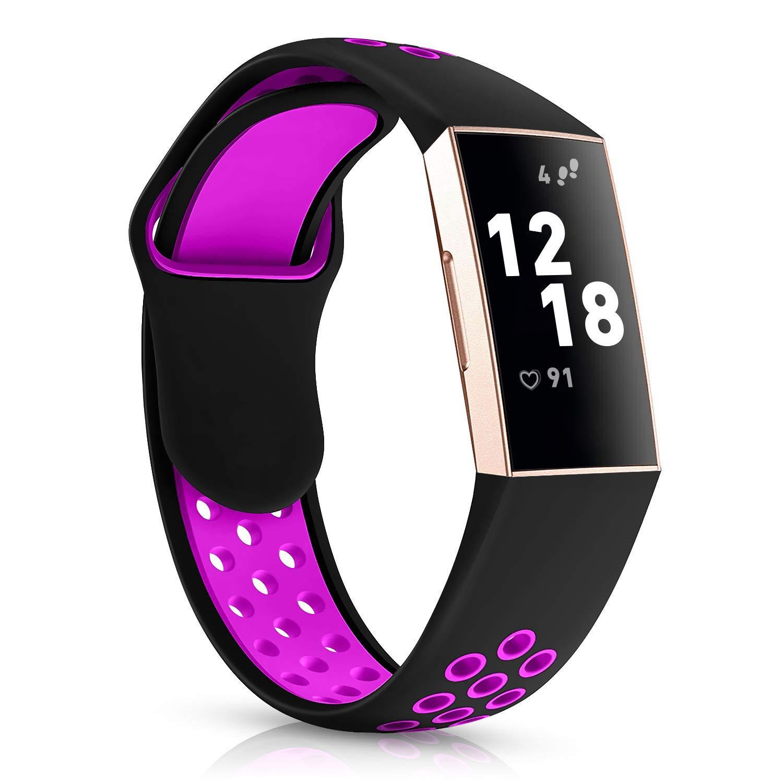 HUMENN Fitbit Charge 3用バンド ソフトシリコン交換用アクセサリー スポーツリストバンド エアホール Fitbit Charge 3 Charge 3 SE B07JKZ3JD7 #,Black/Purple Large