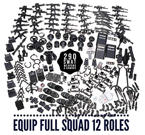 inFUNity Swat Minifigures Armor and Weapons Guns Accessories Pack (290 PCS) Fit Police Minifigure Compatible with Lego Guns