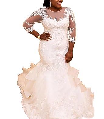 Kiss Rain Womens Plus Size Wedding Dresses Long Sleeve Lace Bridal