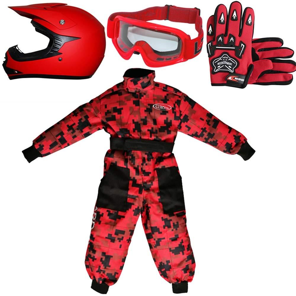 Casco/&Guantes M Guantes Gafas Traje M Camo Traje de Motocross para Ni/ños Leopard LEO-X15 Azul Casco de Motocross para Ni/ños 7-8 A/ños Azul