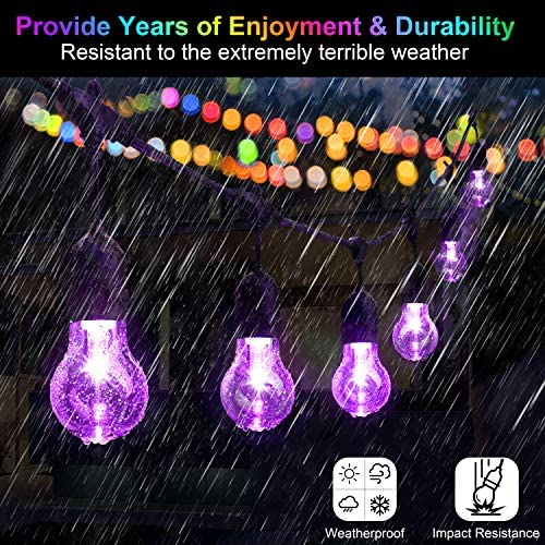 48FT Color Changing Outdoor String Lights, RGB Cafe LED String Light with 15 3 E26 Shatterproof Dimmable Edison Bulbs, Commercial Grade Light String for Patio Backyard Garden, 2 Remote Controls