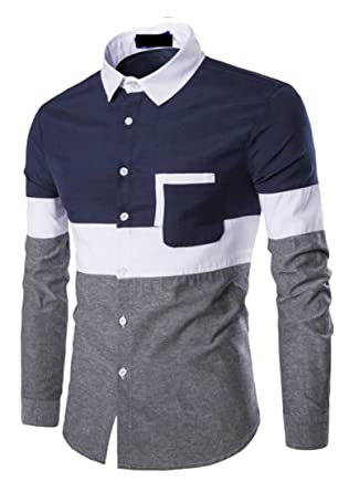 eac928bdb84 Emastor Mens Fashion Slim Fit Long Sleeve Color Block Dress Shirt Top Navy  Blue L  Amazon.co.uk  Clothing