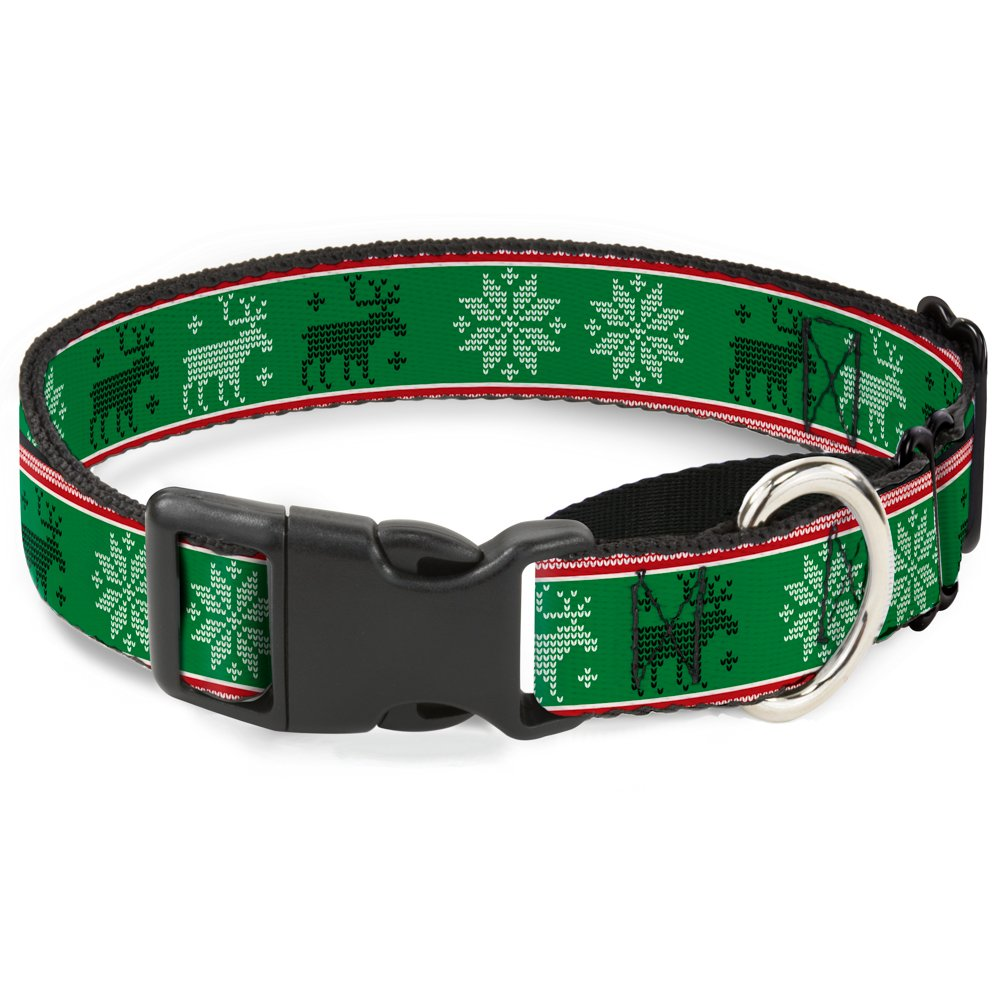 Buckle-Down MGC-W35531-S Christmas Stitch Moose Snowflakes Red Green Martingale Dog Collar, Small