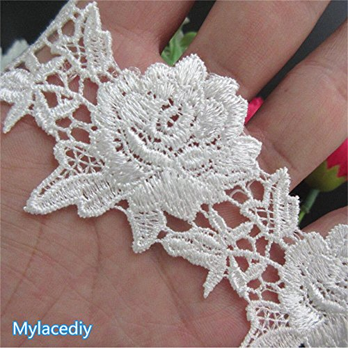 - 2 Meters Flower Lace Edge Trim Ribbon 4.5 cm Width Vintage Style Off White Edging Trimmings Fabric Embroidered Applique Sewing Craft Wedding Bridal Dress Embellishment DIY Decor Clothes Embroidery