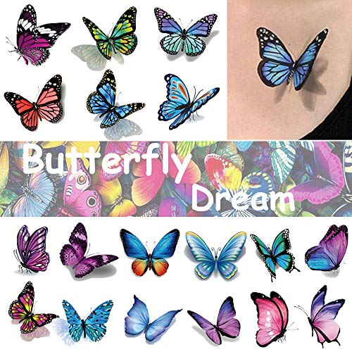 Ooopsi Butterfly Tattoos for Kids Womens – 110 Pcs 3D Tattoos, Colorful Body Art Temporary Tattoos, Butterfly Party Favors
