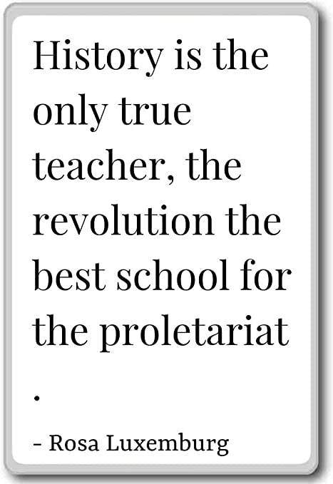 Amazon Com History Is The Only True Teacher The Revolu Rosa Luxemburg Quotes Fridge Magnet White Kitchen Dining