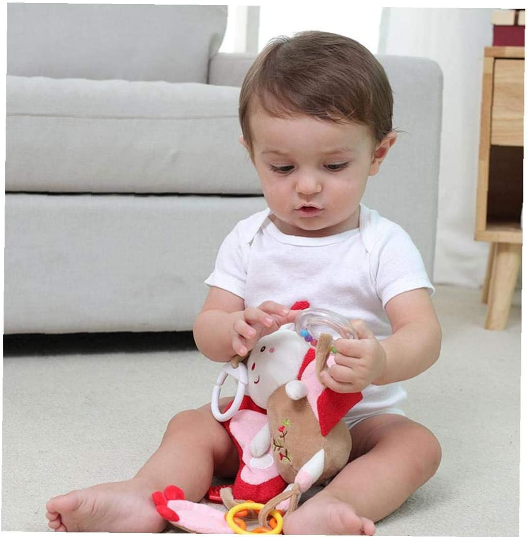 Baby Infant Pram Car Stroller Hanging Rattles Plush Toy Baby Flamingo Plush Infant Toy Handbells Baby Rattles With Teethers Mirror Soft Plush Toys For Infant