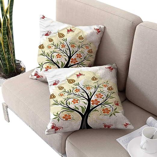 Juego de 2 Fundas de cojín Decorativas con diseño de árbol ...