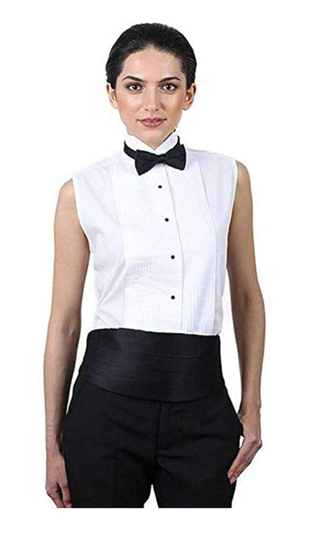 100% quality attractive price deft design SixStarUniforms Women's White Sleeveless Tuxedo Shirt