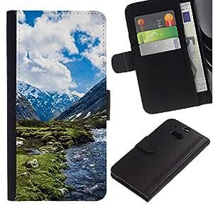 JackGot ( Paisaje de la nieve de la montaña ) HTC One M8 la tarjeta de Crédito Slots PU Funda de cuero Monedero caso cubierta de piel