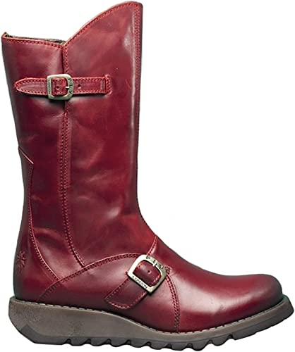 Fly London Mes 2 Rouge Cuir Femmes Mid Calf Bottes: Amazon