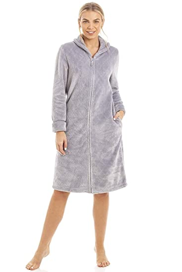 Camille Womens Zip or Button Front Dressing Gown House Coat 6 8 Short Grey   Camille  Amazon.co.uk  Clothing cf9cb8dcf