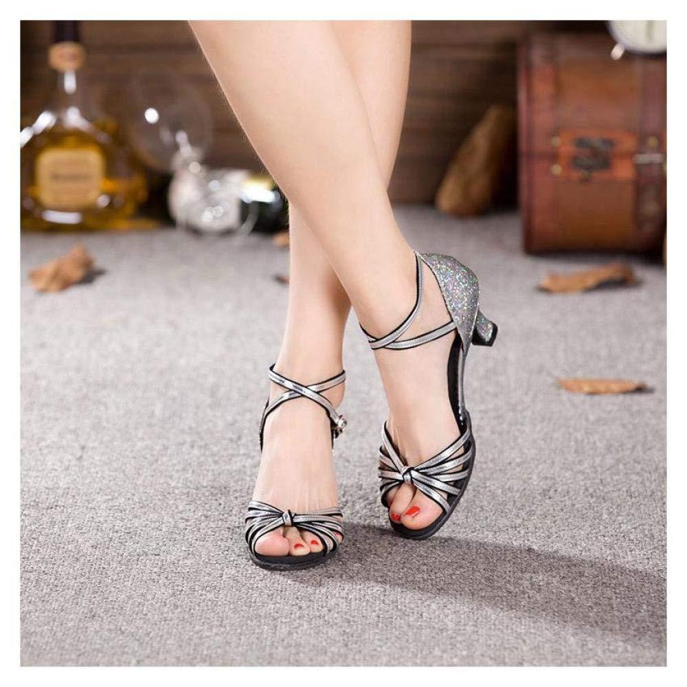 FidgetFidget Women Dancing Sandals Open Toe Ballroom Dance Party Latin Shoes HeelSilverUS5.5=EU36