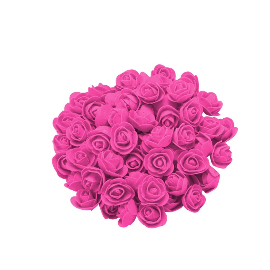 Cyhulu New Fashion Creative 100Pcs Foam Rose Flower Heads Best Lover Gifts for Wedding Birthday Valentine Mother's Day Favors Decoration (F, One size)