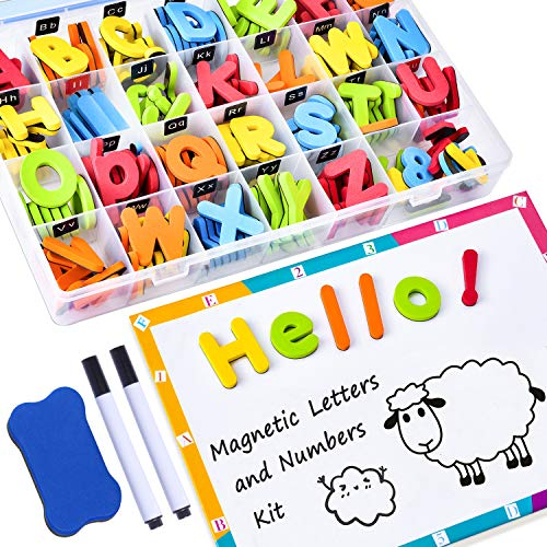 - 225Pcs Magnetic Letters and Numbers for Kids with Double-Side Magnet Board and Storage Box - ABC Uppercase Lowercase Foam Alphabet Letters for Toddlers - Classroom Home Education Spelling Learning Set