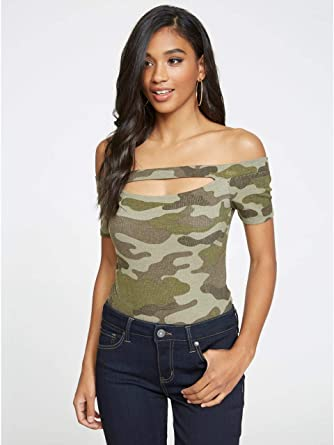 f2256d8e433390 G by GUESS Women s Brooke Camo Off-The-Shoulder Short-Sleeve Cutout top at  Amazon Women s Clothing store