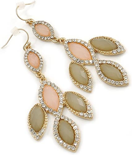 Pink and olive drop earrings