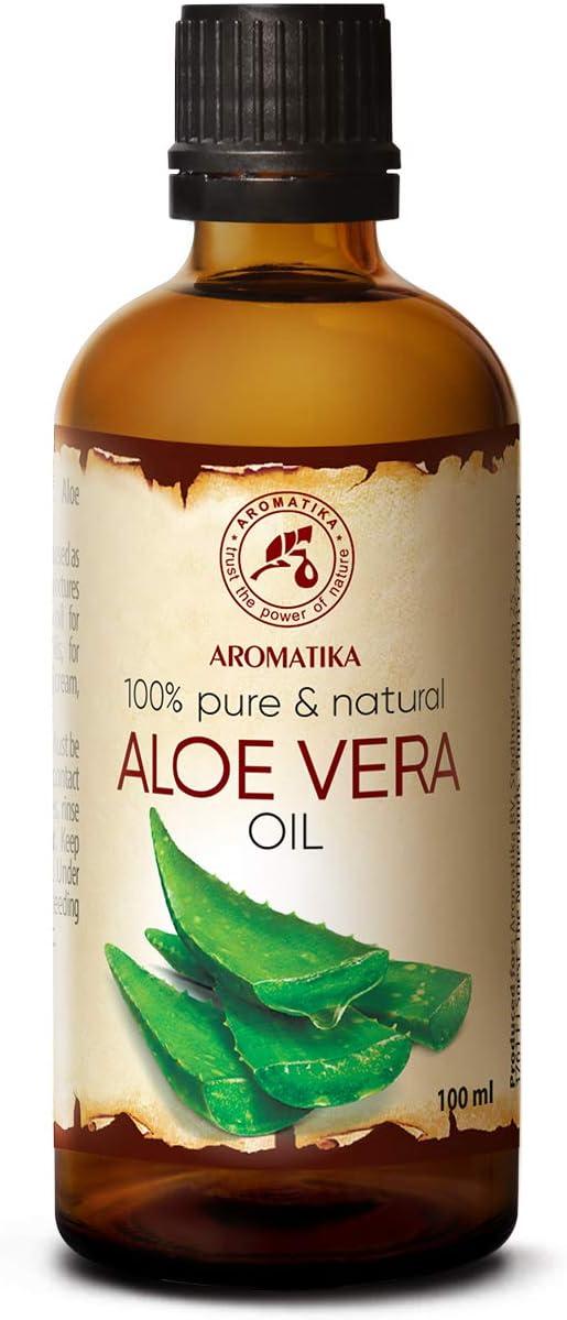 Aceite de Aloe Vera 100ml - Aloe Barbadensis - Brasil - 100% Puro y Natural - Botella de Cristal - Cuidado Intensivo para el Rostro - Cuerpo - Cabello - Masaje - Cosmético para el Cuidado Corporal