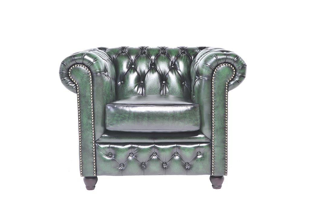 Chesterfield Showroom - Original Chesterfield Sessel - 1-Sitzer - Echtes Leder handgewischt - Antik-grün - 100 x 79 x 92