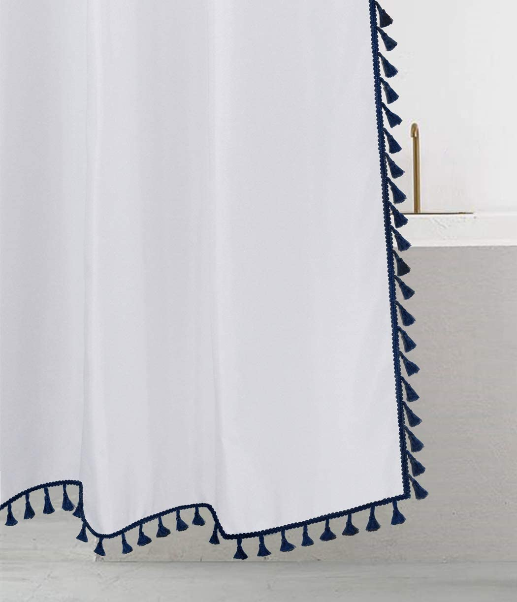 "Felisa Boho Fabric Shower Curtain with Blue Tassel Trim for Bathroom, Machine Washable,72""x72"""