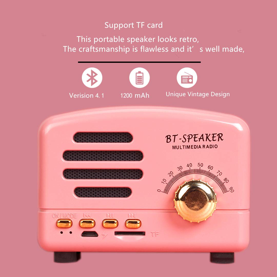 Bluetooth Speaker Loud Stereo Sound, Cherry Enhanced Bass Wireless Retro Vintage Speaker,8-Hour Playtime, with TF Card Slot, Built-in Mic. Perfect Portable Wireless Speaker iPhone, Samsung (Pink)