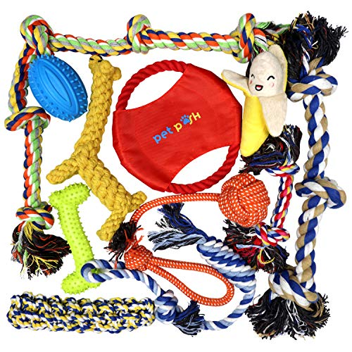 (Pet Posh Dog Toys - Rope Chew Toy Set for Small Medium to Large Breed Puppies and Dogs - Durable Natural Cotton Ropes - Rubber Bone - Squeaky Ball for Fun Play - Tug - Puppy Teething - Chewing)