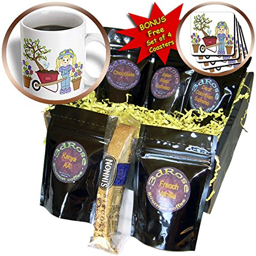 Anne Marie Baugh - Illustrations - Cute little Blond Haired Gardening Girl With Wheel Barrow Illustration - Coffee Gift Baskets - Coffee Gift Basket (cgb_211170_1)
