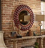 Ambient Carved Solid Mahogany Wood Finished In A Heavily Distressed Aged Red With Black Accents Red Round Mirrors