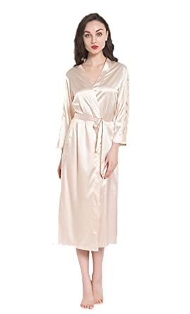 ef4c9bed9b Suyu Women s Silk Satin Long Bathrobe Dressing Gown (Whilte) at ...