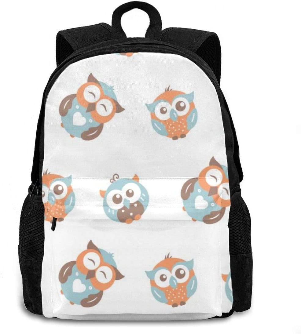 16.5 Lightweight Durable School Bags Bookbag Backpacks For Kids Teen,Cute Big And Small Owls Hand Draw Funny College School Book Shoulder Bag Travel Daypack For Boys Girls Man Woman