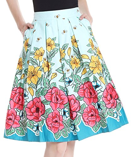 Yige Women's Vintage High Waist Flared Skirt Pleated Floral Print Midi Skirt with Pocket (High School Dance Line Costumes)