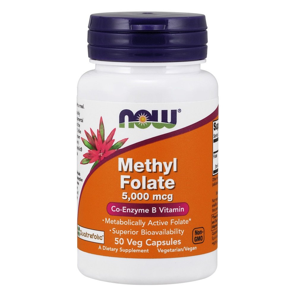 Now Supplements, Methyl Folate 5000 mcg, Superior Bioavailability, 50 Veg Capsules