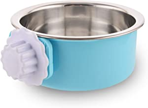 Crate Dog Bowl Removable Stainless Steel Water Food Feeder Bowls Cage Coop Cup for Cat Puppy Bird Pets (Small, Blue)