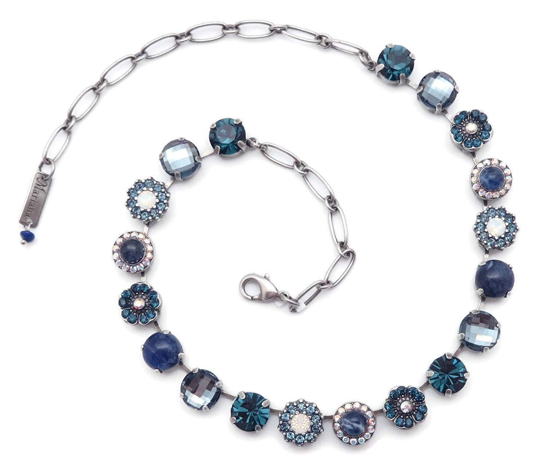 Mariana Mood Indigo Swarovski Crystal Silvertone Necklace Blue White Mosaic Mix M1069 by Mariana