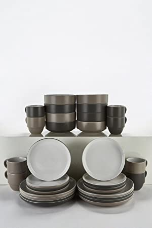 d08ad1147823 32-Piece Mix and Match 2 Tone Stoneware Dinner Set With Stack Mugs ...