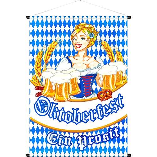 Oktoberfest Door Banner Oktoberfest Door Hanger Welcome Banner for Indoor/Outdoor Decoration Oktoberfest Garden Flag German Bavarian Decoration 18.5 x 12.59 Inch (Color 8)
