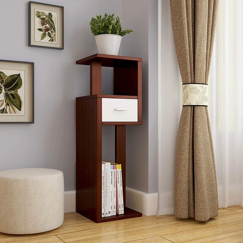 Shelf Solid Wood Space-Saving Storage Rack Display Stand with Drawer, Home Interior Plant Bookshelf Display Stand with Rectangular Base, (Color : Teak)