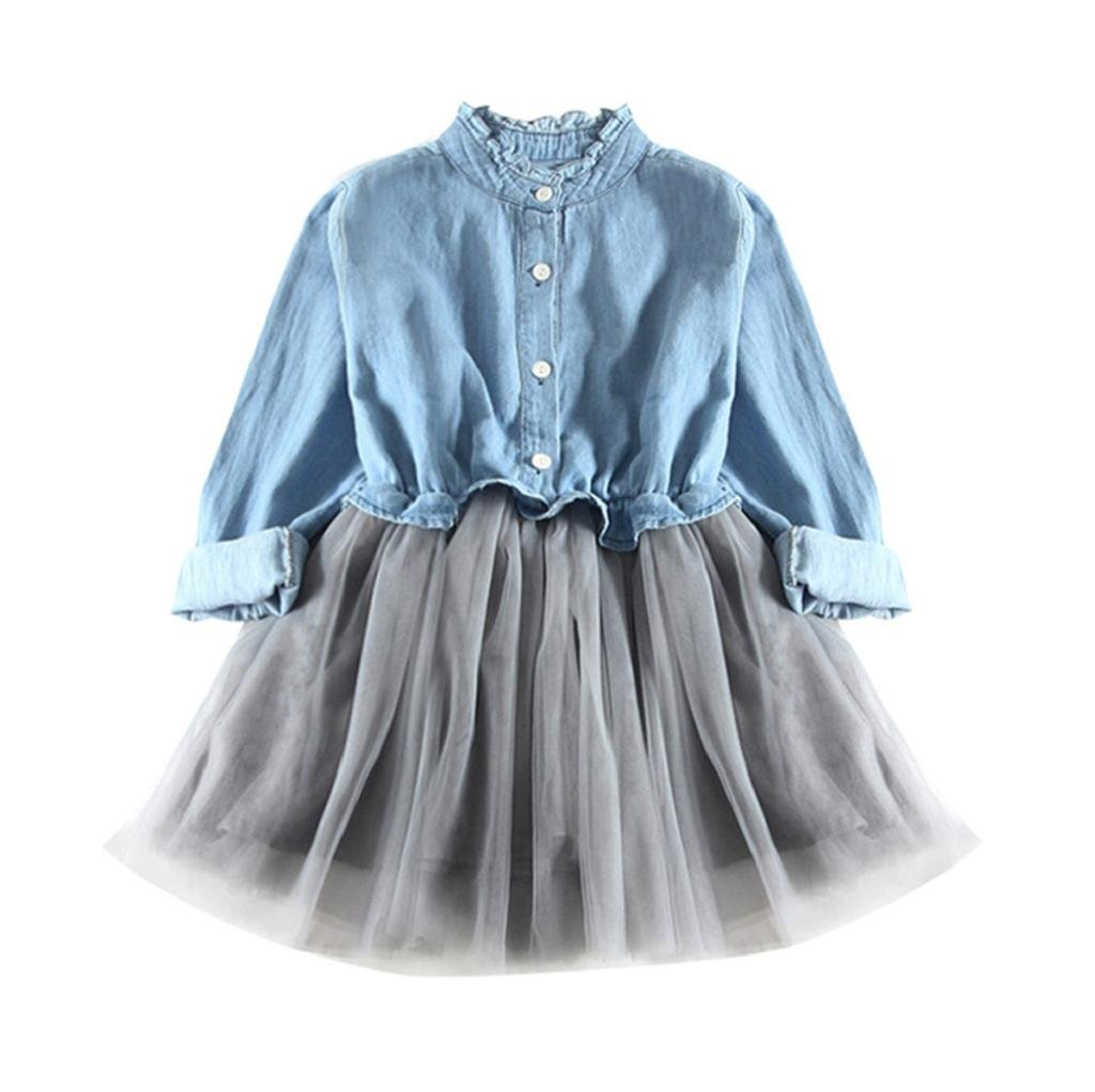 1-8 Years Old Girls,Yamally_9R Fashion Baby Girls Long Sleeve Denim Dress Princess Tutu Dress Cowboy Clothes (7T, Light Blue)
