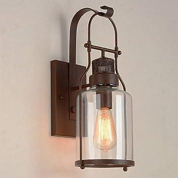 AZWE Vintage Industrial Botella de vidrio Linterna de pared Focos ...