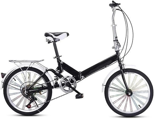 TXTC Bicicleta Plegable For Adultos Mujeres, Amortiguador De Bicicletas, Variable Speed portátil Adulto Bicicleta con Ruedas De Color, Ciudad De Bicicletas, Bici For Niños Bike: Amazon.es: Hogar