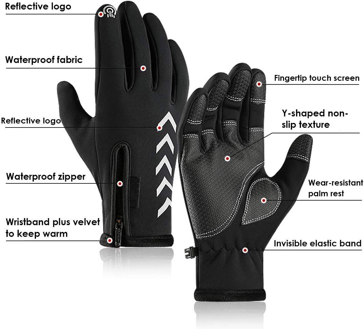 Men Women Winter Warm Windproof Waterproof Thermal Touch Screen Gloves Mittens Y