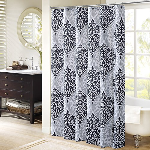 Comfort Spaces - Coco Shower Curtain - Black and White - Printed Damask Pattern- 72x72 inches (Clearance Curtains Shower)